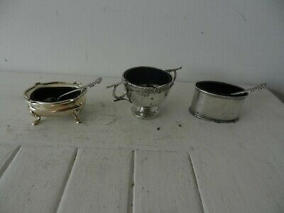 3,Solid Silver Mustard Pot With Spoons And Liners
