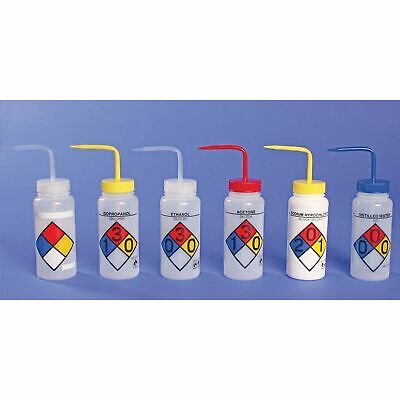 Bel-Art 4-Color Wash Bottles - Right-To-Know, Safety-Labeled, Wide-Mouth