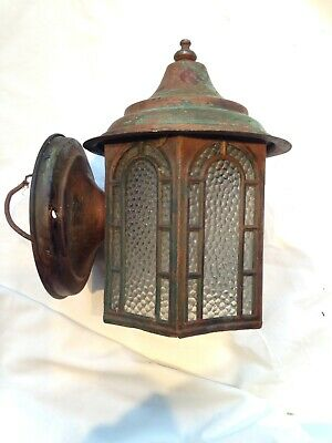 Vintage Copper Wall Sconce Porch Light Arts Crafts Bungalow Lamp
