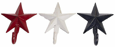 Set of 3 Barn Star Shaped Solid Cast Iron Wall Hooks