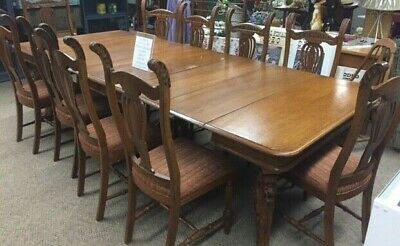 Antique 1890's Hand Carved Griffin / Lion Conference / Dinning Table an Chairs