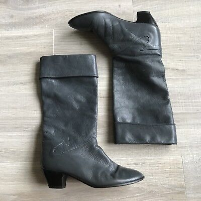 Vintage 70s Gray Leather Pull On Slouchy Block Heel Boots Women Sz 8