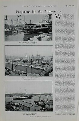 1900 Print Preparing For Manoeuvres Portsmouth Dockyard Magnificent Panther