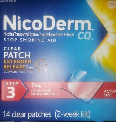14 Count 7mg NICODERM CQ Step3 Extended Release 2-Week1Kit Clear Nicotine Patch