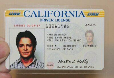 Back to the Future Marty McFly California Driver Licence Prop Card identity