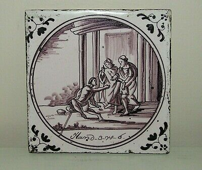 """Antique Old Rustic Hand Painted Bible Scene Tile 5"""""""