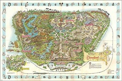1962 DISNEYLAND MAP Collectors Poster CREATIVE COLORFUL 24X36 inch