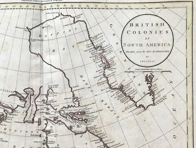 100% Original Map of CANADA British Colonies North America by J Russell 1799