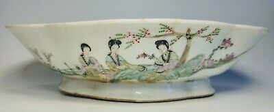 Antique 1920s Chinese Hand-Painted Three Women Scene Porcelain Low Bowl