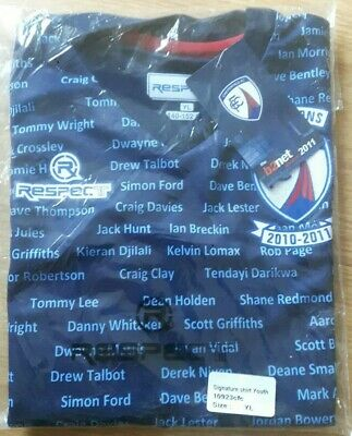 Chesterfield fc large youths 2010-11 champions respect football shirt bnwt.