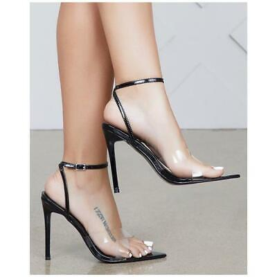 6a25202fea418 CAPE ROBBIN DOUBLE Cross Black Pointed Open Toe Transparent Clear High  Sandal