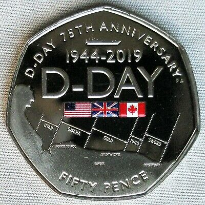 *NEW*GIBRALTAR_50p (Pence) 2019_D-Day 75th Anniversary_teilcoloriert_in coincard