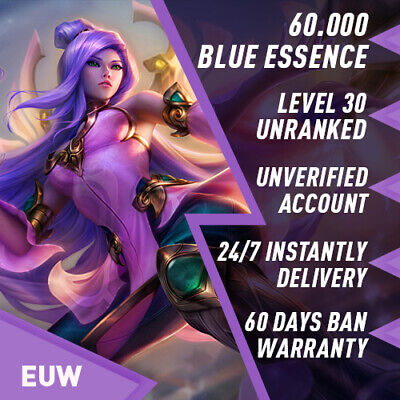League Of Legends Account LOL Euw Smurf 28000 35000 BE IP Unranked Level 30