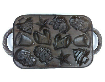 Vintage Cast Iron Christmas Mold Chocolate Cookie Candy Mold