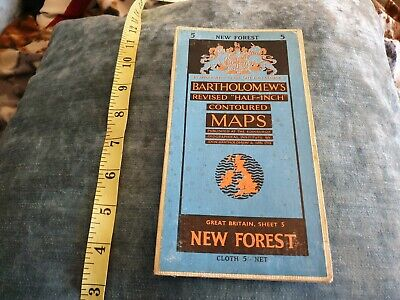 New Forest Bartholomew's Revised Half inch Contour Map Sheet 5 Cloth 1961 refA14