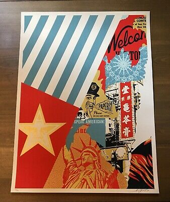 Shepard Fairey Obey WELCOME VISITORS Signed Numbered Screen Print