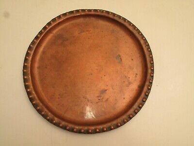 Vtg Antique Handmade Artisan Copper Tray Arts & Crafts Hobnail Edge Aleene Moore