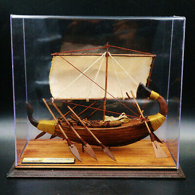 Rare Egyptian Antique Handmade Sun Boat Museum Ship Collection Art...large