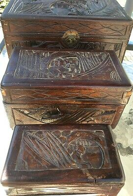 Antique Oriental Chinese Carved Wood Chest Stationary Jewelry Trinket  3 pc set*