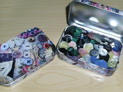 BNWT- Collectable Filled Button Tins - Floral and Lace Design