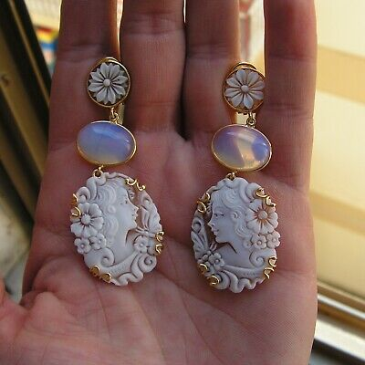 Style Antique Victorian Carved Opal Opposed Cameo Drop Earrings