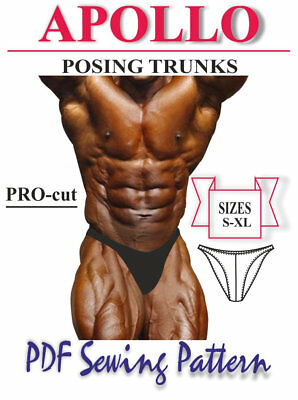"""""""APOLLO"""" Bodybuilding Competition Posing trunks  PDF Sewing Pattern S-XL"""