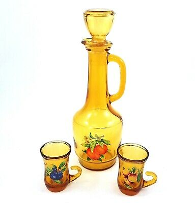 Vintage Amber Glass Juice Decanter Carafe 2 Drinking Glasses Fruit Motif Orange
