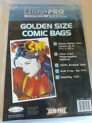 "ultra pro comic series golden size comic bags 7 3/4"" x 10 1/2"" 100 count"