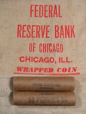 (ONE) Uncirculated FRB Chicago Lincoln Wheat Cent Penny Roll 1909-1958 PDS (490)