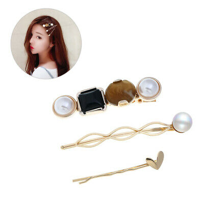 3 pcs/Set Hair Clip Alloy Geometric Pearl Hair Jewelry Bobby Pin for Women Girls