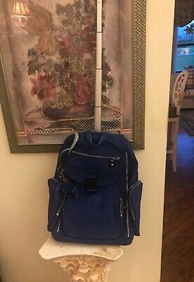 Kipling Rolling Blue Suitcase Backpack Collapsing Handle Luggage Bag W Monkey