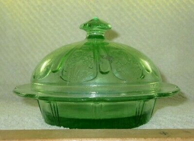 Vintage Green Depression Glass Covered Candy Dish