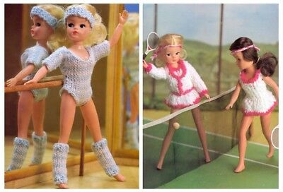 Sindy or Barbie Dolls' 4 Ply Ballet and DK Tennis Outfit Knitting Pattern 10035