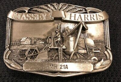 Massey Harris MH 21A Combine Farming Agriculture 1980's Vintage Belt Buckle