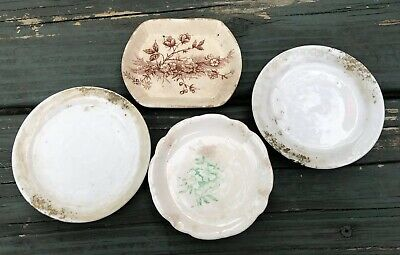 Vintage Lot of 4 Antique Butter Pats Shabby Transfer ware Farmhouse Chippy Sweet