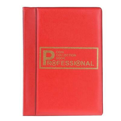 120 Pockets Coins Album Collection Book Commemorative Coin Holders Red #B