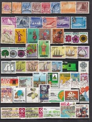 SINGAPORE....  Collection  of   56  different used stamps