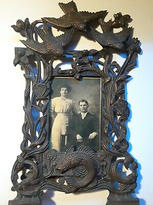Pare of antique cast iron/ brass picture frames. Rare and amazing!