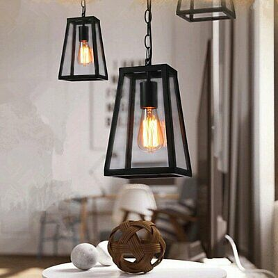 Vintage Antique Trapezoid Hanging Ceiling Pendant Dining Room Light w/ Free Bulb