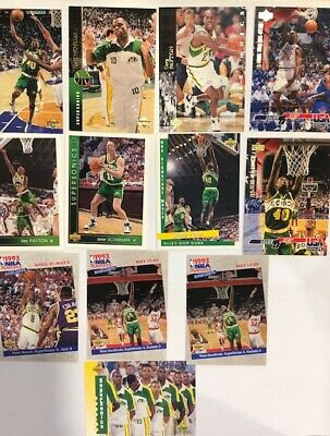 90s NBA Basketball 93 94 Upper Deck Seattle Supersonics Trading Swap Card Lot D