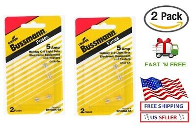 125V UL Listed 5-Pack Bussmann GMA-5A 5 Amp Glass Fast Acting Cartridge Fuse