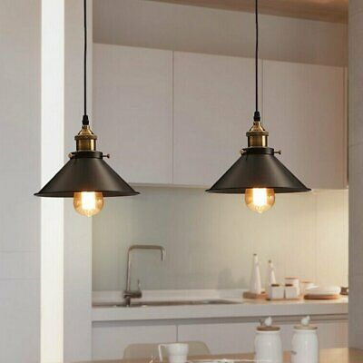 2x Pendant Lighting Industrial Vintage Hanging Light Ceiling Lamp Fitting Black