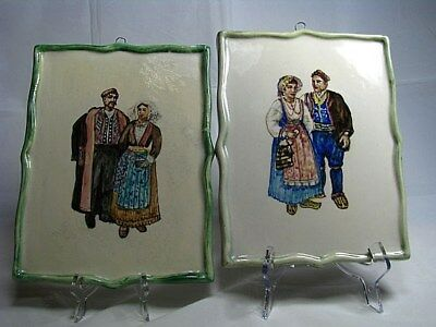 2 HAND PAINTED FAIENCE PORCELAIN PLAGUES TILES MUTI-COLOR by Cardel Italy c1960s
