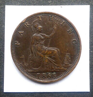 Great Britain 1868 Victorian Bronze Farthing 151 Years Old Britannia/Ship