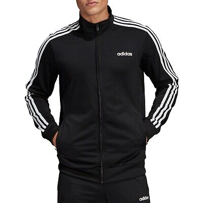 ADIDAS Mens  Black White Essentials 3-Stripes Tricot Track Jacket M NEW W- TAGS
