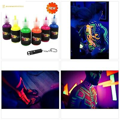 [6 Bottles, 1 oz. Each] UV Body Paint Glow Blacklight Reactive Neon Fluorescent