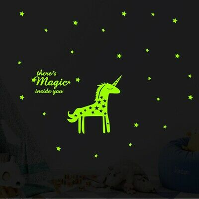 Licorne Glow In The Dark Stickers muraux Étoiles Stickers Enfants Chambre Décor