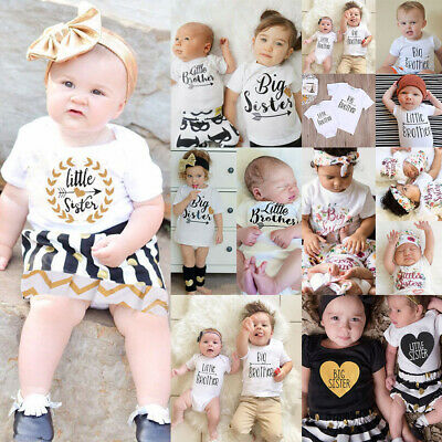 AU Sister Matching Little/Big Sister/Brother Romper T-shirt Dress/Pants Outfits