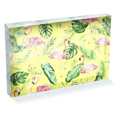 "Tropical Yellow Pink Flamingo Photo Block 6 x 4"" - Desk Art Office Gift #15891"