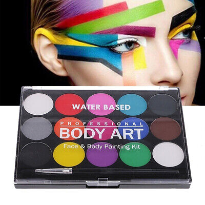 Face & Body Paint Set 15 Colours Palettes Pallete Face Painting Art Make Up Kit